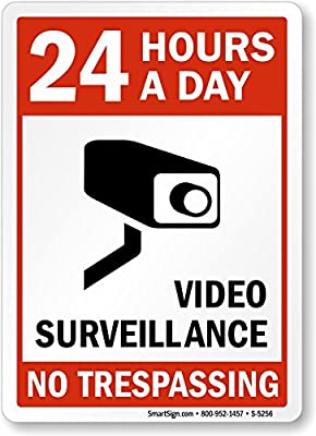 "24 Hours a Day Video Surveillance, High Intensity Reflective Aluminum Sign, 18"" x 12"" by MySecuritySign"