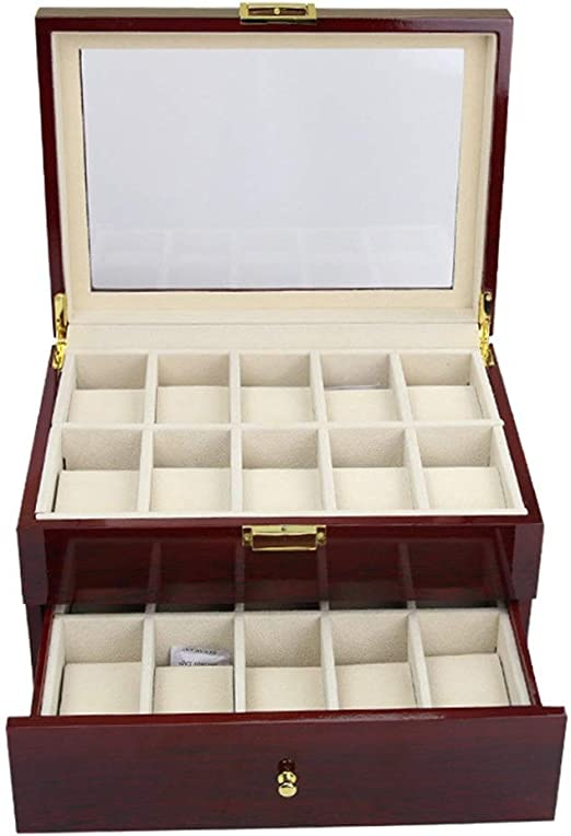 Happyplus1 Cajas para Relojes, Mujeres Hombres Madera 20 Ranuras 2 Capas de Reloj Grande Caja Titular Pantalla Almacenamiento Organizador Caja Bandeja de Regalo Elegante Regalo Presente: Amazon.es: Hogar