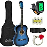 Best Choice Products 38in Beginner Acoustic Guitar Bundle Kit w/Case, Strap, Tuner, Pick, Pitch Pipe, Strings - Blue