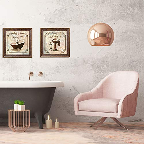 Gango Home Decor Classic Prints for Decorating Bathroom; Salle De Bain & Le Baignoire; Two 12x12in Gold Trim Brown Framed Pieces, Ready to hang!