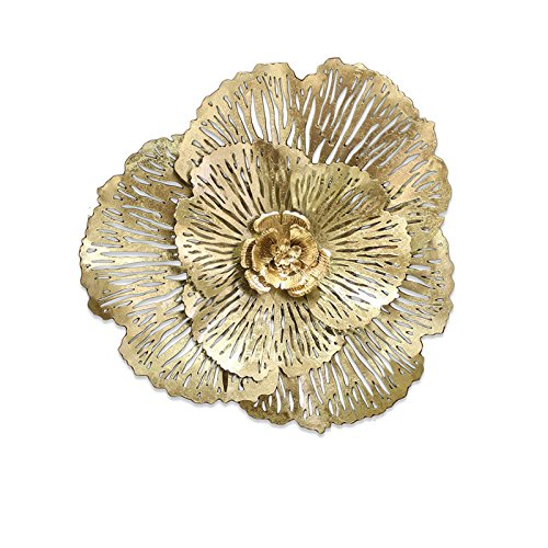 3D gold metal flower wall decor    Gold wall hangings