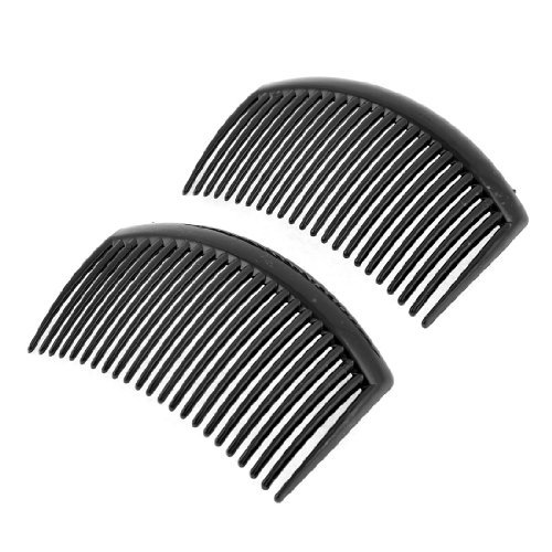 FOREVER YUNG 2PCS Black Plastic 20 Teeth Hairstyle Hair Clip Comb for Ladies