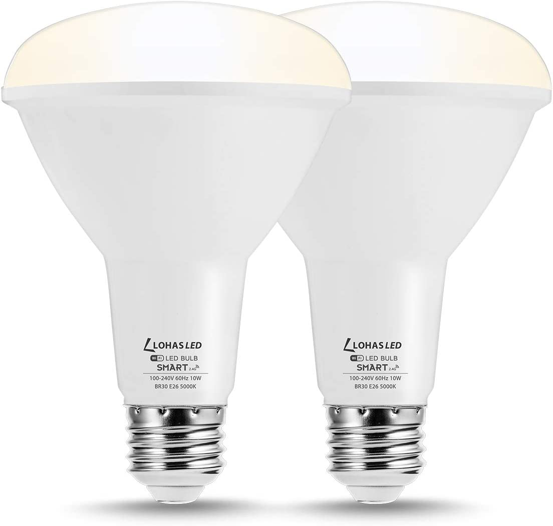 LOHAS BR30 Smart Light Bulb, E26 Medium Base LED Bulb, Flood Light Bulb Works with Siri, Alexa, Google Assistant, 10W 75W Equivalent Daylight White 5000K Dimmable BR30 Bulb for Home Office, 2 Pack