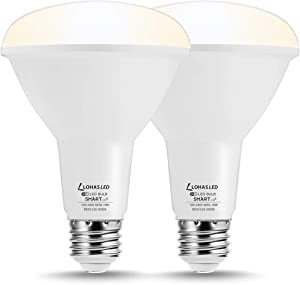 LOHAS BR30 Smart Bulb, Wi-Fi LED Flood Light, Dimmable LED Daylight 5000K Bulb, 10W(75W Equivalent) Smart Light, E26 Base 980LM for Indoor Lighting, Compatible with Alexa, Google Home, Siri, 2 Pack