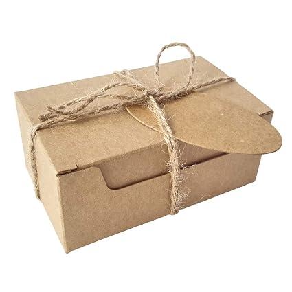 50 Piezas Rectángulo Regalos Envase Kraft Caja de Papel Y Etiqueta Cuerda de cáñamo Caja de jabón (Caja Marrón Con Etiquetas Marron)