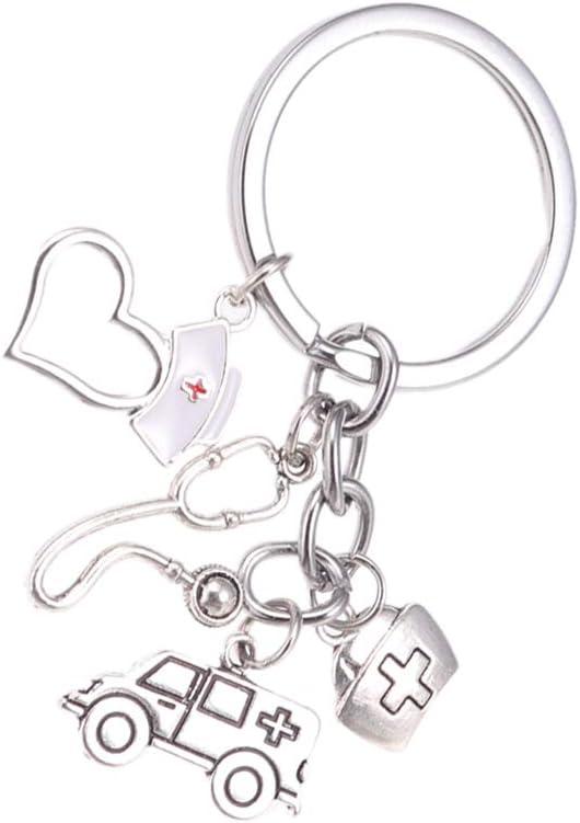 VALICLUD Portachiavi in ??metallo Ambulanza medica Doctor Nurse Memorial Lega Portachiavi Creativo portachiavi carino Ornamento da appendere alla moda regalo
