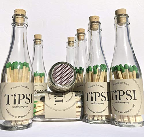 (Wine Bottle Matches - Made from Mini Repurposed Recycled Wine Bottles - Great for Gift Sets!)