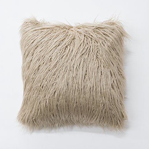 Best Home Fashion Taupe Mongolian Lamb Faux Fur Pillow Cover- 18
