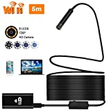 Epress Wireless WiFi Endoscope, 8mm Borescope Semi-rigid Inspection Camera 2.0 Megapixels HD Snake Camera for Android and IOS Smartphone, iPhone, Samsung, Tablet Macbook(5M)