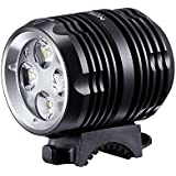 Revtronic 1600 Lumens Bike Light - Cree LED Bike Lights - Mountain Bike Headlight Bundle with 5200mAh Rechargeable Battery Pack, AC Charger, Black