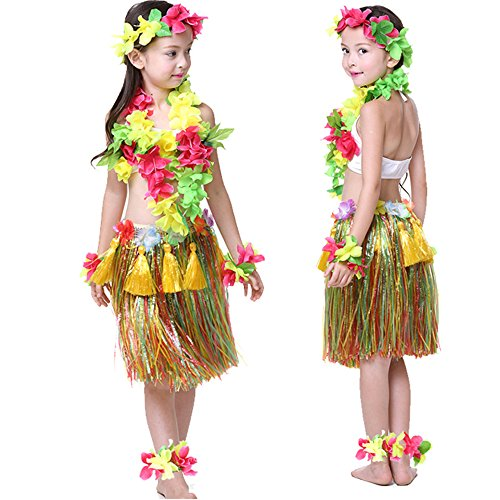 Kids Hawaiian Hula Dance Costume Ballet Performance Cosplay Dress Skirt Garland For Girl Child 40CM Full (Hula Dancer Costume)