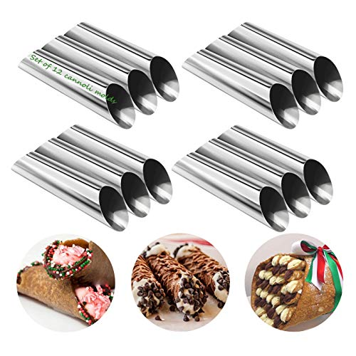 (YsesoAi Set of 12 Stainless Steel Cannoli Form Tubes, Cream Roll Mold, Non-stick Coating, Diagonal Shaped - 5 inch)