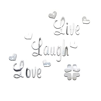 DIY Live Laugh Love Wall Art Stickers Quote Vinyl Mirror Effect Decals For  Bedroom  Silver