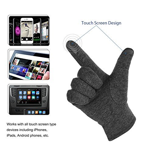 Vbiger Winter Warm Gloves Touch Screen Gloves Casual Gloves Texting Mittens for Men and Women (L, Grey)