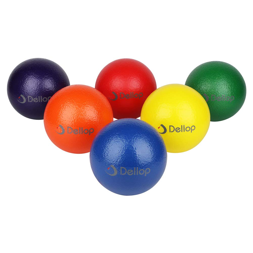 Dellop No Air Playground Balls Dodgeball Set with Mesh Storage Bag 6 Pack (8 INCH) by Dellop