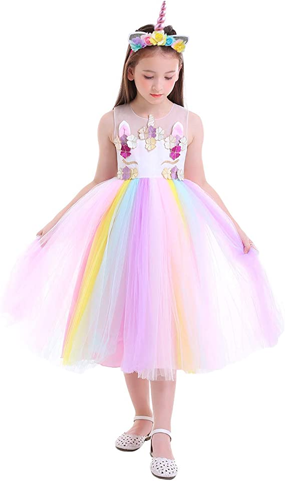Girls Dress Unicorn Rainbow Sleeveless Deep Pink Princess Size 4-12