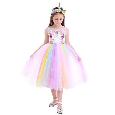 c59ebe5d9 FYMNSI Princess Girls Unicorn Birthday Party Flower Sleeveless Rainbow Dress  Up Costume + Headband 4-