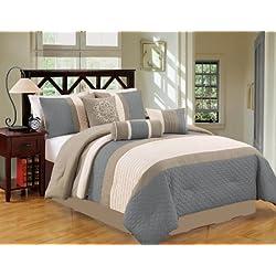 JBFF Bed in Bag Microfiber Luxury Comforter Set, King, Blue Gray, 7 Piece