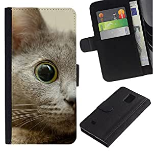 Nebelung Kitten Eye Cat Russian Blue - la tarjeta de Crédito Slots PU Funda de cuero Monedero caso cubierta de piel Samsung Galaxy Note 4 IV
