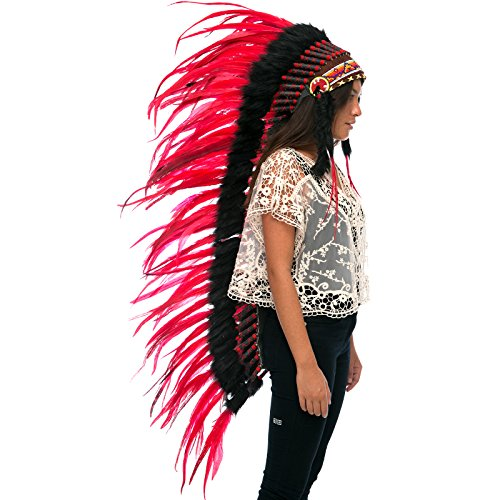 India Costume For Male (Extra Long Feather Headdress- Native American Indian Inspired- Handmade by Artisan Halloween Costume for Men Women with Real Feathers - Red Rooster)