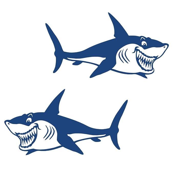 shangmu 2 Piezas Azul tiburón Dientes Boca Pegatinas Kayak ...