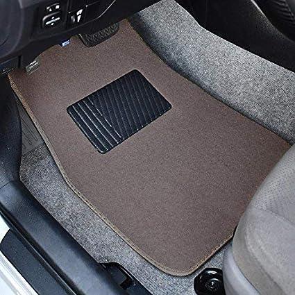 Secure No-Slip Technology for Automotive Interiors BDK Interlock Car Floor Mats 4pc Inter-Locking Carpet Dark Beige