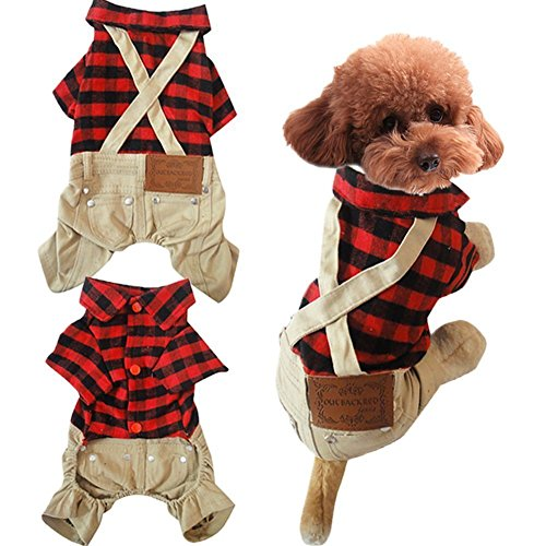 "Gollyking Dog Jumpsuit Overalls Costume Cotton Plaid Shirt With Pants Soft Autumn Winter Clothes For Small Puppy Cats Pets (Cotton Plaid Shirt Style,XL for back length14"",weight 9.9-14.3 lbs)"