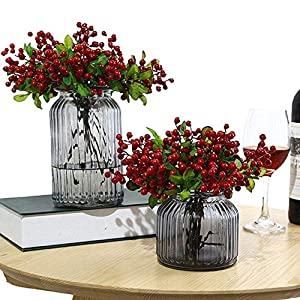 Wootkey 10 Pcs Plastic Artificial Flowers California Berries Rich Red Artificial Berry Stems Holly Christmas Berries for Festival Holiday and Home Decor 2