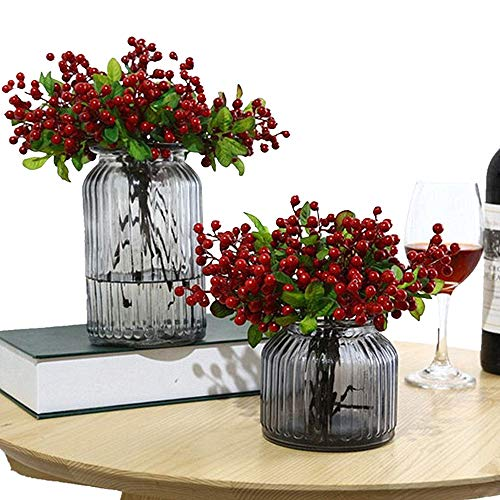 Wootkey 10 Pcs Plastic Artificial Flowers California Berries Rich Red Artificial Berry Stems Holly Christmas Berries for Festival Holiday and Home Decor