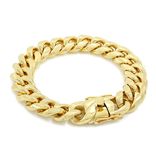 Bling Bling NY Solid 14k Yellow Gold Finish Stainless Steel 16mm Thick Miami Cuban Link Chain Box Clasp Lock (Bracelet 9'')