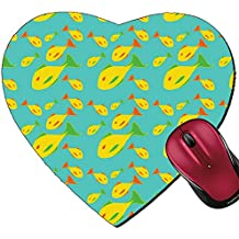 Liili Mousepad Heart Shaped Mouse Pads/Mat IMAGE ID: 4966106 Vector illustration of mid century modern 1950 s style abstract yellow fish pattern Retro abstrac