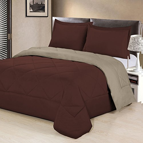 Aurora Bedding  3 Piece Reversible Luxurious Brushed Microfiber Goose Down Alternative Comforter Set with pillow Shams, King, Chocolate/Cream by Aurora Bedding