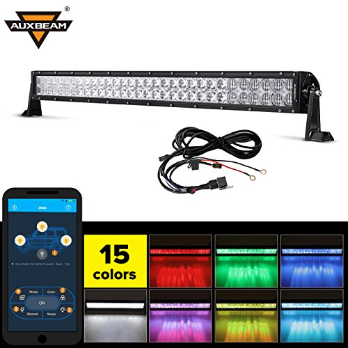 Auxbeam 32 Multi-color LED Light Bar V Series 180W 5D RGB Off road LED Bar Spot Flood Combo Beam with Bluetooth App & Wiring Harness