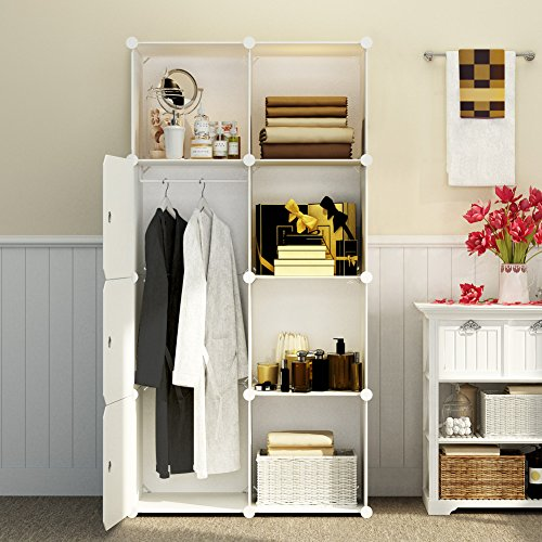 KOUSI Portable Closet Wardrobe Bedroom Armoire Storage Organizer with Doors, Capacious & Sturdy. 5 Cubes+ 1 Hanging Sections, White