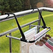 "IYOWEL Indoor/Outdoor Balcony Foldable Metal Towel Shelf Clothes Storage Drying Rack Laundry Hanger Dryer over Balcony Window or Bathroom, 20.88""W x 14.56"" D x 11.41""H"