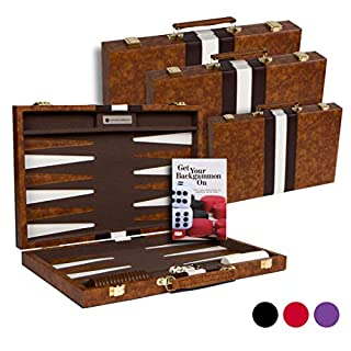 """Get The Games Out Top Backgammon Set - Small 11"""" Travel Size Classic Board Game Case - Best Strategy & Tip Guide (Brown, Small)"""