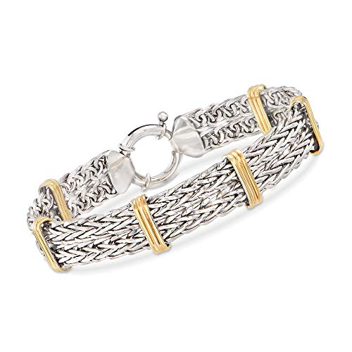 (Ross-Simons Two-Tone Double Wheat-Link Bracelet in Sterling Silver and 14kt Gold Over Sterling)