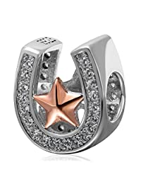 Rose Gold Star Horseshoe Beads 925 Sterling Silver Charm Fits European Brand Bracelet Jewelry