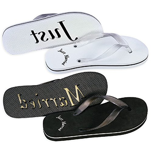 Just Married flip Flops for Bride and ()