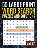 55 Large Print Word Search Puzzles and Solutions: Activity Book for Adults and kids | Word Search Puzzle: Wordsearch puzzle books for adults entertainment Large Print (Find Words for Adults & Seniors)