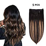 5 Pieces 14' Remy Clip in Hair Extensions Human Hair Natural Black to Chestnut Brown Highlight Black Ombre - Silky Straight Short Thick Real Hair Extensions for Women (14 inches, #(1BT6) P1B, 70grams)