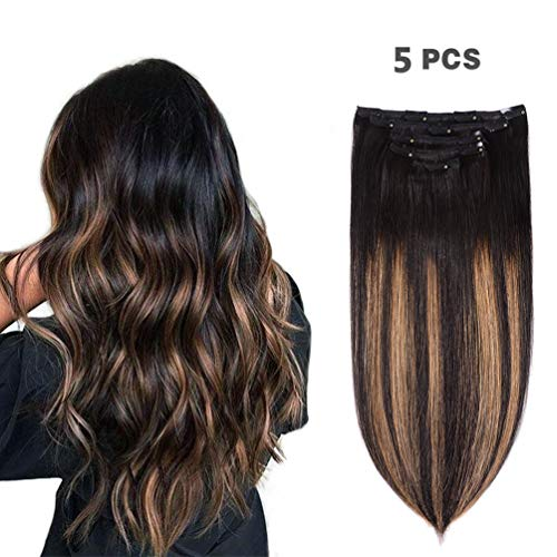 "5 Pieces 16"" Remy Clip in Hair Extensions Human Hair Natural Black to Chestnut Brown Highlight Black Ombre - Silky Straight Short Thick Real Hair Extensions for Women (16 inches, (1BT6) P1B, 80grams)"