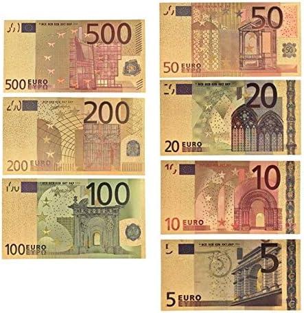 ZYZRYP 7PCS /ロット5 10 20 50 100 200 500 24Kゴールドのフェイク紙幣でEURゴールド紙幣コレクションユーロ紙幣セットの 使いやすい (サイズ : 5)