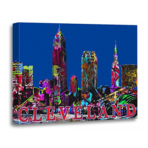 TORASS Canvas Wall Art Print Ohio Cleveland in Graffiti Landmarks Buildings Architecture Skyline Artwork for Home Decor 12