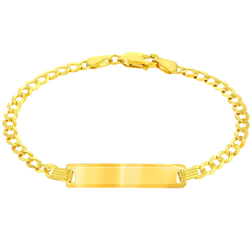 14K Yellow Gold ID Bracelet with Cuban Concave Chain Curb Link, 6''