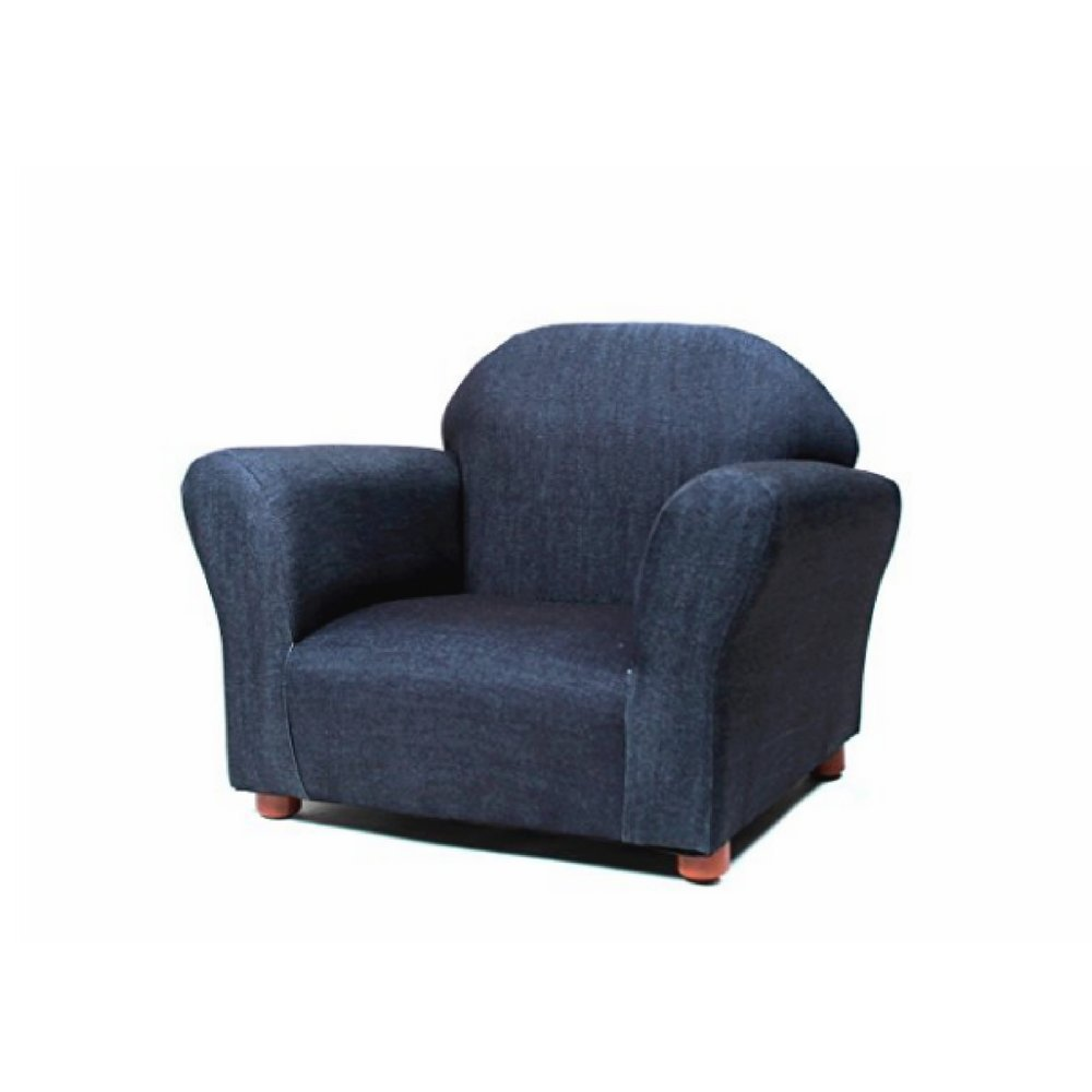 Chaise Lounge Armchair For Kids, Blue Color, Modern Design, Lightweight, Wooden Frame, Denim Fabric, Ideal For Indoor And Outdoor Spaces, Sturdy And Durable Construction & E-Book Home Decor