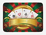 Lunarable Poker Tournament Bath Mat, Gambling Fortune Wealth Playing Cards Hand Casino Roulette Winning Print, Plush Bathroom Decor Mat with Non Slip Backing, 29.5 W X 17.5 W Inches, Multicolor