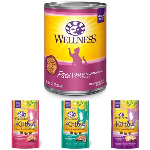 Wellness Natural Grain Free Wet Canned Cat Food, Chicken & Lobster Pate, 12.5-Ounce Can (Pack of 12) with Wellness Kittles Crunchy Natural Grain Free Cat Treats, 2-Ounce Bag (3 Bag Variety)