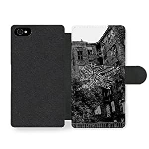 New Courage Illustration Eagle in Black and White Funda Cuero Sintético para iPhone 4 4S