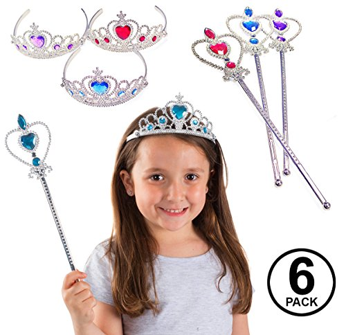 Funny Party Hats Princess Accessories - 6 Pack - Princess Wand and Tiara - Princess Party Tiaras and -